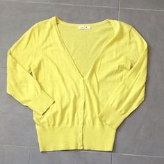 ✨SALE✨Yellow/Green Sweater Cute yellow/green v-neck sweater with 7 buttons going down the front. Size: large. 100% cotton. Great condition! Teaspoon Sweaters Cardigans
