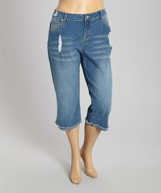 Look at this #zulilyfind! Medium Wash Distressed Pocket Capri Jeans - Plus #zulilyfinds