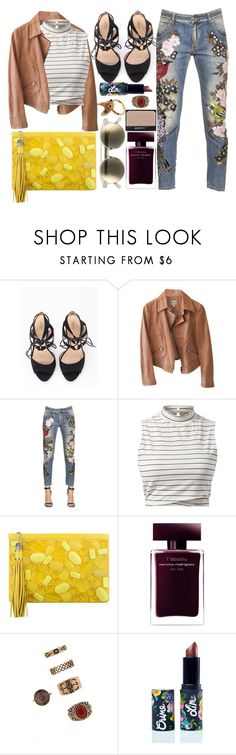 """""""You look at me and I feel yellow"""" by karllydolly ❤ liked on Polyvore featuring Armani Collezioni, Amen, Rafe, Le Specs, Narciso Rodriguez, NARS Cosmetics, Forever 21, Lime Crime and Nach"""