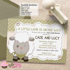 Boys Little Lamb Baby Shower invitations little by CutePartyDash
