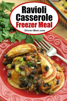 This Ravioli Casserole Freezer Meal is a Mexican inspired dinner that everyone loved at our meal assembly store. Just bake in the oven when you are ready! #raviolicasserole #freezermeal #Mexican