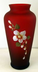 Fenton Hand Painted Vase in Ruby Satin Glass