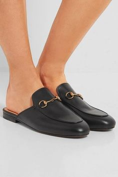 Heel measures approximately 10mm/ 0.5 inches Black leather Slip on Made in Italy
