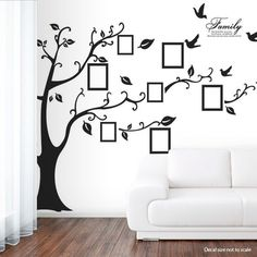 "Sass N Frass by Tina http://www.sassnfrass.net/#tinagowans Family Tree wall decal $28.00 - these were gone but they are now back in limited quantity. If you want one don't delay because these sell out fast!! Save 10% with code tinagowans10%! Add your own family photos 79"" x 98"" Assemble Approx. Dimensions: 79"" x 98"" (250 x 200 cm) (FULL DESIGN including birds/leaves)"