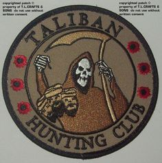 TALIBAN HUNTING CLUB Morale Velcro Military Patch -Brown