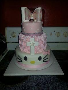 Hello Kitty Birthday/Baptism Cake Hello Kitty Themes, Hello Kitty Plush, Hello Kitty Birthday, 2nd Birthday Parties, Christening, Cake, Party, Desserts, Tailgate Desserts