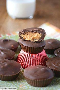Homemade Sugar-Free Peanut Butter Cups/ sugarfreemom.com