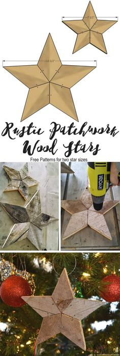 Easily add natural elements into your Christmas decor with these simple rustic patchwork wood stars. Free patterns and tutorial.