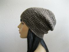 Crocheted Slouchy Beanie Hat Barley Tweed by yarnmeditations