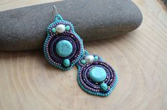 Turquoise Purple Embroidered Dangle Earrings, Bead Embroidery Earrings, Embroidered Jewelry, Beadwork Earrings, FREE SHIPPING on Etsy, $28.00