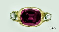 Garnet, Diamond, Silver and Gold 18th Century Ring at Nelson Rarities,Inc. Portland Maine
