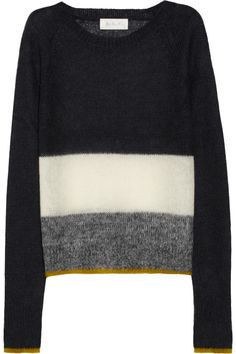 A.L.C.  Mae striped open-knit jersey sweater