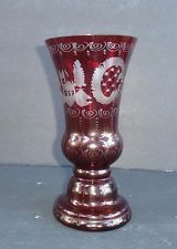 Vintage Bohemian Czech Ruby Red Cut to Clear Crystal Glass Vase