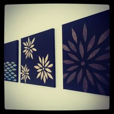Diy canvas art! Cut the leaves out of fabric with a design on it!  Tan and blue would match perfectly