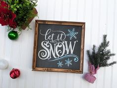 Let It Snow Hand Painted Christmas Decor Sign, Wood Christmas Sign - Hot Cocoa İdeas Merry Christmas, Christmas Signs Wood, Christmas Decorations, Xmas, Rustic Outdoor Decor, Rustic Bathroom Decor, Kitchen Decor, Bedroom Decor, Advent