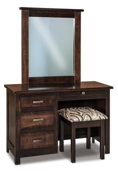 Amish Flush Mission Four Drawer Vanity Dresser with Optional Mirror and Optional Bench can be used as a vanity or a desk.