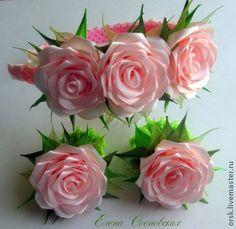 """Купить Комплект """"нежные розы"""" - розовый, канзаши, комплект украшений, композиция из цветов, красивое украшение"""