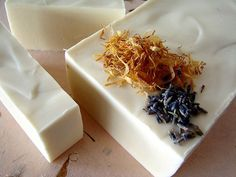 The finished product!  Creamy white, and extra soothing, Bastille with lavender and calendula