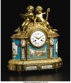 A Fine French Sevres-style Porcelain and Gilt Bronze Mantle Clock  Unknown maker, French  Circa 1870-1890  Porcelain with polychrome enamel and gilt decoration, gilt bronze, enamel, glass
