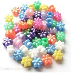 Rainbow Creations Flower Shaped Pony Beads for Children