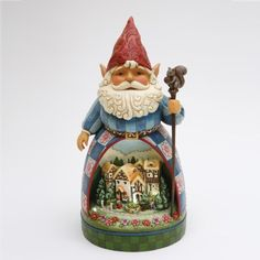 Jim Shore Garden Gnome With Diorama Solar Lighted by Jim Shore. $124.99. 10 x 10 x 19.5 inches tall - stone resin - colors may vary. Solar panel and 1 AA rechargeable battery included Light lasts about 5 hours when fully charged by sun or lamp ON/OFF Switch on panel Solar panel tucks neatly away in a drawer on the base 4 LED lights Will withstand sun and rain.