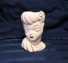 Vintage Pottery Ladies Head Vase, Hand-Painted Gold Luster on Cream Retro Woman
