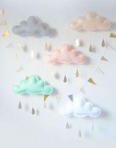 White Cloud Mobile, White cloud decor, Nursery-Children Decor- Neutral nursery by The Butter Flying- nursery decor- White nursery