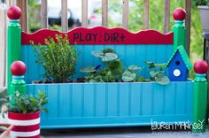 how to re-purpose a headboard into a flower bed and planter using Americana Decor Chalky Finish paint. #decoartprojects