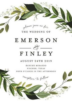 """Vines of Green"" - Floral & Botanical Wedding Invitations in Fern by Susan Moyal."