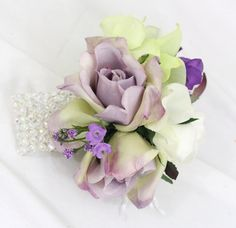 White, Purple Rose Wrist Corsage - Prom, Wedding via Etsy