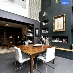 Episode 7 Winner - Carla favours a darker palette in the majority of the home. Dining Table Chairs, Dining Area, Dining Room, Ireland Homes, Architect Design, Favours, Kitchen Living, Kitchen Inspiration, Ideal Home
