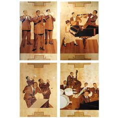 Set of Four Marquetry Panels of Louis Armstrong's Band from Paris 1