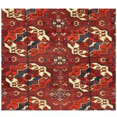 Antique Tekke Turkmen Carpet, Central Asia, Mid-19th Century | From a unique collection of antique and modern central asian rugs at https://www.1stdibs.com/furniture/rugs-carpets/central-asian-rugs/