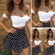 2 Piece Set Tank Top +High Waist Black Dot Dress