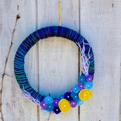 Multi-Color Wreath, Yarn Wreath, Felt Flower Wreath, Door Decor, Modern Wreath, Blue Purple & Yellow Wreath by EdnaPearlDesigns on Etsy