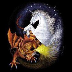 Unicorn and Dragon Unicorn Fantasy, Real Unicorn, Unicorn Art, Fantasy Creatures, Mythical Creatures, Mythological Creatures, Unicorn Tattoos, Dragon Unicorn Tattoo, Unicorn Pictures