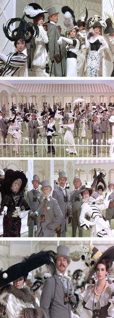 The black and white ascot races from 'My Fair Lady' -- Costume Designer: Cecil Beaton - I love the costumes of the Ascot scene, stunning.