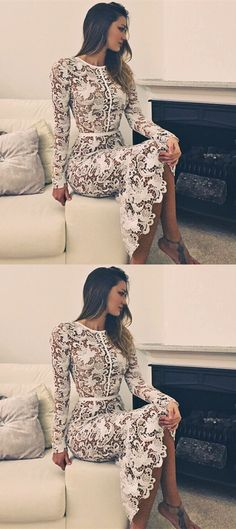 chic white lace prom dresses with sleeves, unique mermaid party dresses, elegant lace evening dresses