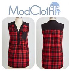 """MODCLOTH Girl About Scranton Tunic Top in Plaid From the office to your favorite margarita-sipping spot, you entertain others in the effortless style of this breezy, ModCloth-exclusive top. A buttoned placket and contrast pocket add sleek simplicity to this silky red-and-black plaid blouse only adding to your likable character! Medium is 28.5"""" in length. Features a lovely black trim color, front-button closure from the waist up, and a chest pocket. Material is 100% polyester. Fabric is not…"""