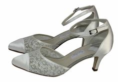 Brautschuhe Rainbow Couture Satin mit Stickere ivory Riemchen pumps ivory 38