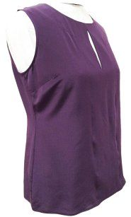 St. John K923wc3 Top Aubergine Purple Peekaboo silk top size 12 $225