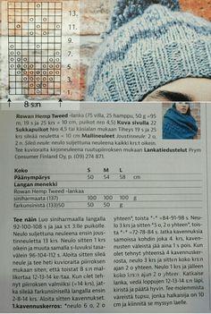 Naisen neulottu pipo neulepipo myssy kirjoneule rowan hemp tweed puikot 4,5 siniharmaa (137) 100 g farkunsininen (133) 50 g