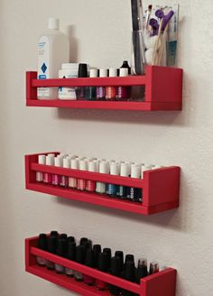 10 ways to use the IKEA Bekvam spice rack. This pic shows nail polish, but I pictured Young Living essential oils!!