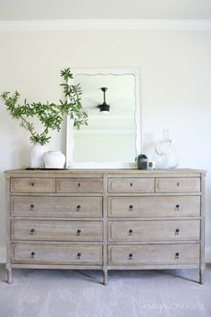 large bedroom dresser, light wood chest of drawers, Restoration Hardware Louis XVI dresser, dresser styling ideas