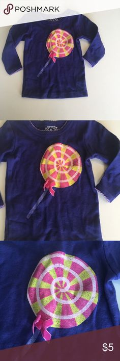 Lollipop tee Long sleeve dark purple tee with glittery pink and yellow striped lollipop . Gently worn, good condition Carter's Shirts & Tops Tees - Long Sleeve