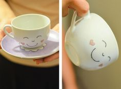 Le Cauri | Lovely Designed #cups #porcelain #hand #painted #smile