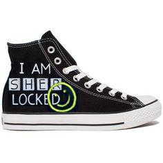 I am sherlocked black converse shoes