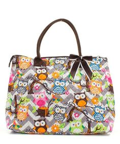 Owl Chevron Stripe Large Quilted Weekender Tote Bag (PINK) by Handbag Inc Take for me to see Owl Chevron Stripe...