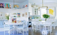 Fresh blue + white #kitchen designs are in both of Aerin Lauder's #glam homes in #NYC + East Hampton