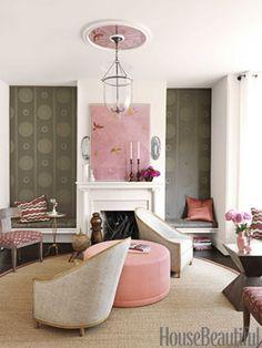 Pink and Brown Living Room. Design Barry Dixon. #mantel housebeautiful.com